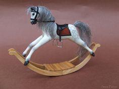 OOAK Miniature dollhouse rocking horse - 1:12 - by Steve Panner IGMA