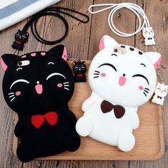 Black/White Kawaii Neko Cat Phone Case SP168219