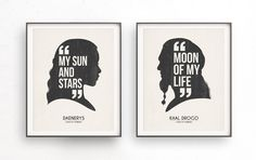 Daenerys targaryen. Khal Drogo. My sun and stars. Moon of my life. Game of thrones. Khaleesi printable. Silhouette quote. Couples art. Love home decor. Dothraki art. Poster illustration. Romantic gift. Typography decor Inspired Game of Thrones TV show. This designs are suitable for office or your home. It is also a good idea for anniversaries, birthday, christmas or any other special occasion. The download includes for 2 Zip high resolution files (4 JPG and 4 PDF) in 2 different sizes: A3…