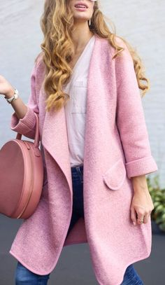 Here's your pretty pink knitted answer to the in-between weather days to come.  Just Knitted Open Coat featured by  Enchanting Elegance Blog