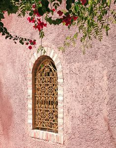 Pink walls and arched windows of Marrakech, Morocco. See the Jasmine fronds and cerise Bougainvillea.inspiration for Heart of Eternity and Empress Elixer with their exotic scents that transport me back to sultry nights
