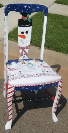 Hand painted Christmas chair - do you store them in the garage after the deluge of all those extra guests over the Christmas? Hand Painted Chairs, Whimsical Painted Furniture, Hand Painted Furniture, Funky Furniture, Colorful Furniture, Paint Furniture, Repurposed Furniture, Christmas Chair, Noel Christmas