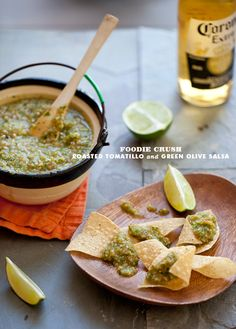 Sweet tomatillos become even sweeter after a quick roast and mix with briny green olives