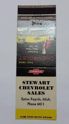 STEWART CHEVROLET EATON RAPIDS MICHIGAN 1956 CHEVROLET Matchbook Matchcover