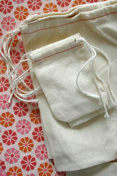 BLANK Cotton Cloth Drawstring Bags - 5 x 7 Inches - for Stamping - set of 25.   13.60, via Etsy.