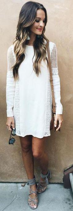 #summer #lovely #fashion | Little White Crochet Dress
