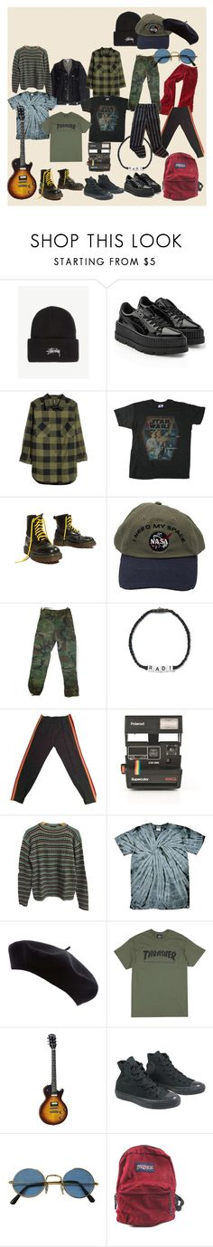 """""""aesthetic i want but is too broke to get: retro boi"""" by olean on Polyvore featuring Stussy, Puma, H&M, Junk Food Clothing, Yellow Jacket, Venessa Arizaga, Gucci, Polaroid, Prada and Converse"""