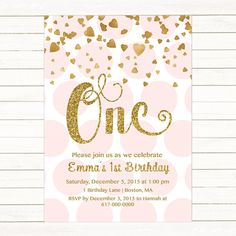 Flower First Birthday Invitation Boho Pink And Gold Floral - First birthday invitations girl pink and gold