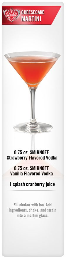 Cheesecake Martini drink recipe with Smirnoff Strawberry Flavored Vodka, Smirnoff Vanilla Flavored Vodka & splash Cranberry Juice. #Smirnoff #vodka #Strawberry #Vanilla #Cranberry #drinkrecipe