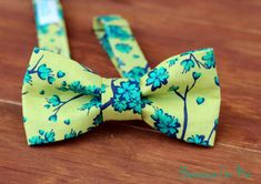 Mens Bow Tie - Green and Blue Floral on Green, bowtie for men and teens