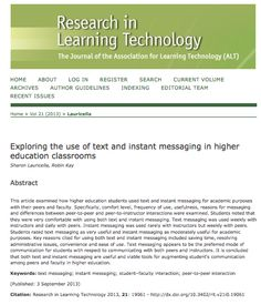 Exploring the use of text and instant messaging in higher education classrooms Instant Messaging, Higher Education, Exploring, Robin, Students, Classroom, Messages, Engagement, Learning