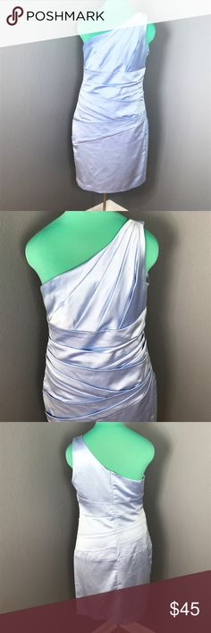 One shoulder David bridal ice blue dress Perfect condition. Purchased by me for my best friends wedding worn once for a matter of four hours. Ice blue in color size 12 David's Bridal Dresses One Shoulder