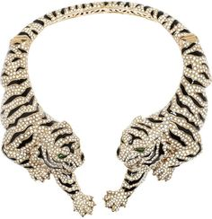 Roberto Cavalli Gold Goldplated Swarovski Crystal Tiger Necklace