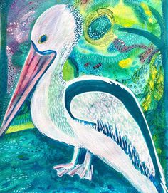 """Anna Just (@annajust_art) posted on Instagram: """"Inspired by my local large feathered friends! Our local pelicans have missed the fisherman during lockdown. They are often seen wandering…"""" • Sep 1, 2020 at 8:57am UTC Mixed Media Artwork, Bird Art, Vibrant, Canvas Prints, Anna, Painting, Inspiration, Instagram, Biblical Inspiration"""