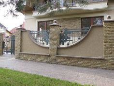 House Fence Design, Modern Fence Design, Front Gate Design, Door Gate Design, Railing Design, Metal Gates, Wrought Iron Fences, Boundry Wall, Compound Wall Design