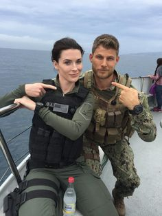 "bridgetreganing: "" @TheLastShipTNT: We know these two are locked, loaded and ready for S3! Check out this #BTS shot of @TVdub and @BridgetRegan at sea! "" @bridgetregan ♥♥"