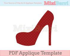 High Heel Applique Template PDF Instant Download via Etsy