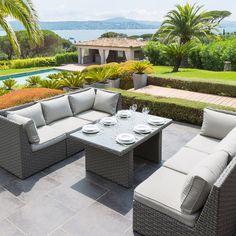 Salon de jardin résine tréssée Hesperide Bora Bora Noir