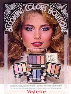 Maybelline Blooming Colors Boutique 1981 US Vogue June 1981 Model Kim Alexis Vintage Makeup Ads, Retro Makeup, Love Makeup, Vintage Beauty, Vintage Ads, Purple Makeup, Vintage Trends, Vintage Magazines, Glam Makeup