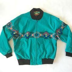 Vintage Wrangler Brushpopper Western Teal Southwestern Aztec Rodeo Zip Jacket XL  | eBay