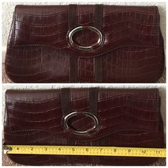 Faux Leather Brown Purse NY and Co This can be used as a clutch for a formal night out or carry it on your shoulder with a leather/chained handle. New York & Company Bags Clutches & Wristlets