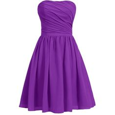Dresstells Women's Short Strapless Bridesmaid Dress Homecoming Party... (86 BAM) ❤ liked on Polyvore featuring dresses, purple cocktail dress, strapless cocktail dress, short bridesmaid dresses, short dresses and short cocktail dresses