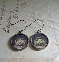 Meow Vintage Paper Glass Earrings Jewelry Cat by ThatOldBlueHouse2, $26.00