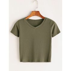 V Neck Ribbed Knitted T-shirt (49 HRK) ❤ liked on Polyvore featuring tops, t-shirts, green, short sleeve t shirts, stretch v neck t shirts, stretch t shirt, summer tops and brown t shirt