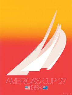 America's Cup Yacht Race • Vintage Poster • USA  vs Australia