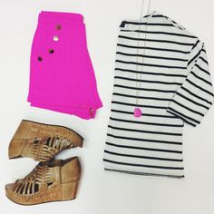 Gentle Fawn striped top, Hot and Delicious hot pink shorties and the perfect Chocolate Blu wedges. Love this combo! #ShopGeezLouise #prep