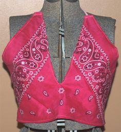 Bandana Halter Top  Pink by DarkeBlazeDesigns on Etsy, $10.00 Bandana Ideas, Bandana Styles, Dope Shirt, Halter Tops, Cute Tshirts, Needlework, Crop Tops, Sewing, Trending Outfits