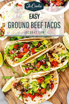 Easy Ground Beef Tacos ideal for busy weeknights! Add your favorite taco toppings and dinner is served! Foolproof, customizable and yummy. #recipe #tacos #groundbeef
