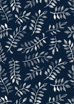 """""""White Leaves on Navy - a hand painted pattern"""" Photographic Prints by micklyn Redbubble Motifs Textiles, Textile Patterns, Color Patterns, Print Patterns, Zentangle Patterns, Textile Prints, Illustration Inspiration, Pattern Illustration, L Wallpaper"""