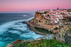 Sunset in the town Azenhas do Mar, Portugal Sintra Portugal, Visit Portugal, Spain And Portugal, Beautiful Places In The World, Places Around The World, Wonderful Places, Around The Worlds, Peaceful Places, Cinque Terre