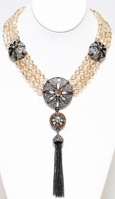 MMCrystal Three strand choker w/ Pave wheels and tassel