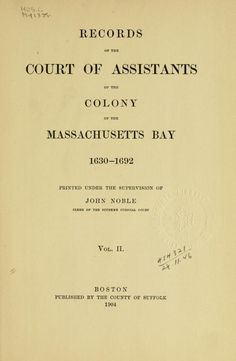 early court records from Massachusetts Bay Colony