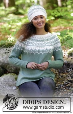 Perles du Nord by DROPS Design The set consists of: Knitted jumper with round yoke, multi-coloured Norwegian pattern and A-shape, worked top down. Sizes S - XXXL. Hat with multi-coloured Norwegian pattern. The set is worked in DROPS Flora. Fair Isle Knitting Patterns, Jumper Patterns, Fair Isle Pattern, Baby Patterns, Knit Patterns, Drops Design, Tejido Fair Isle, Fair Isle Pullover, Icelandic Sweaters