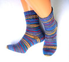 Blue Yellow Red Hand Knitted Socks Blue Yellow Red Striped