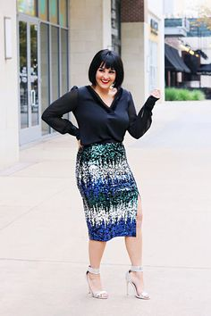 dac902811d Sequin midi skirt and a velvet trimmed blouse from Express with silver  Sehra sandals from JustFab