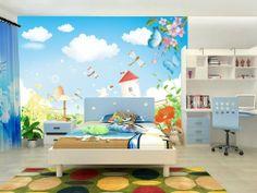 Cartoon Country Scenery Wall Mural, 7-Feet 7-Inch By 5-Feet 7-Inch