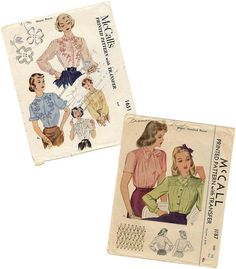 Vintage McCall's 1940s Sewing Blouse Patterns 1187 OR 1651 on Etsy, $8.00