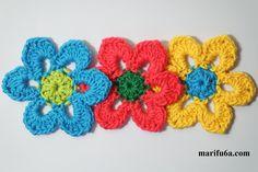 """FREE crochet pattern """"simple flower """" by marifu6a Easy Crochet, Free Crochet, Flower Patterns, Crochet Patterns, Sunflower Flower, Simple Flowers, Flower Tutorial, Crochet Flowers, Free Pattern"""