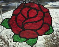 Handmade Stained Glass Rose Suncatcher