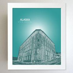 Alaska Skyline State Capitol Landmark - Modern Gift Decor Art Poster 8x10. $20.00, via Etsy.