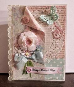 shabby chic mother's day card - Craft ~ Your ~ Home Butterfly Cards, Flower Cards, Paper Flowers, Pretty Cards, Cute Cards, Shabby Chic Cards, Mothers Day Cards, Happy Mothers, Beautiful Handmade Cards