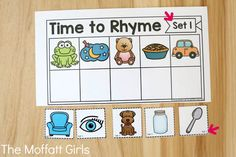 Time to Rhyme Phonemic Awareness Packet! Phonemic Awareness Activities, Rhyming Activities, Phonics Games, Teaching Phonics, Phonological Awareness, Kindergarten Literacy, Learning Activities, Phonics Lessons, Teaching Strategies