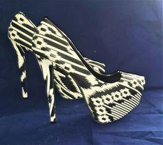 "Charlotte Russe platform high heels black & white design 8 women's 6"" designer #CharlotteRusse #Platform Charlotte Russe, Black And White Design, Platform High Heels, Painted Shoes, Black High Heels, Kitten Heels, Best Deals, Clothing, Accessories"