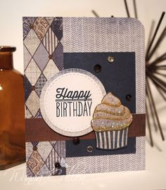 Handmade birthday card by Wanda Cullen using the Small Packages stamp set from Verve. #vervestamps