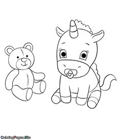 Unicorn online coloring for kids with online coloring tools Unique Coloring Pages, Coloring Pages For Kids, Adult Coloring, Teddy Bear Coloring Pages, Unicorn Coloring Pages, Baby Unicorn, Unicorn Print, Online Coloring For Kids, Beautiful Unicorn