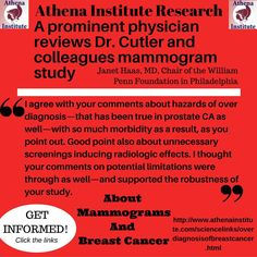 Information about the risks of mammograms and overdiagnosis of breast cancer http://www.athenainstitute.com/sciencelinks/overdiagnosisofbreastcancer.html … #health #women